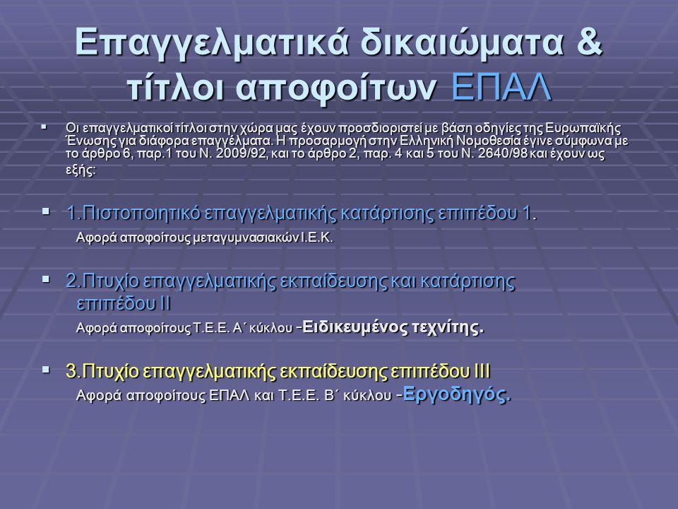 Επαγγελματικά δικαιώματα & τίτλοι αποφοίτων ΕΠΑΛ