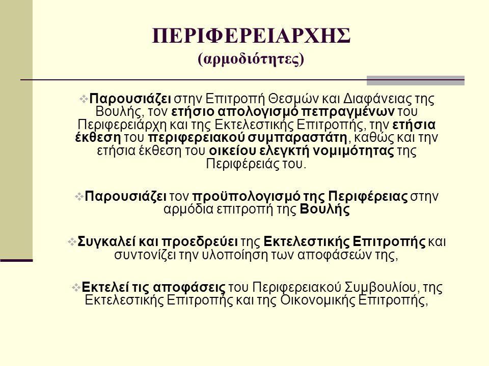 ΠΕΡΙΦΕΡΕΙΑΡΧΗΣ (αρμοδιότητες)