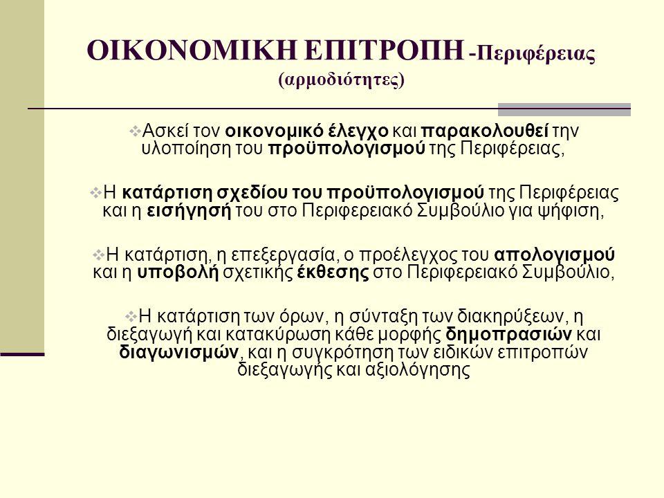 ΟΙΚΟΝΟΜΙΚΗ ΕΠΙΤΡΟΠΗ -Περιφέρειας (αρμοδιότητες)