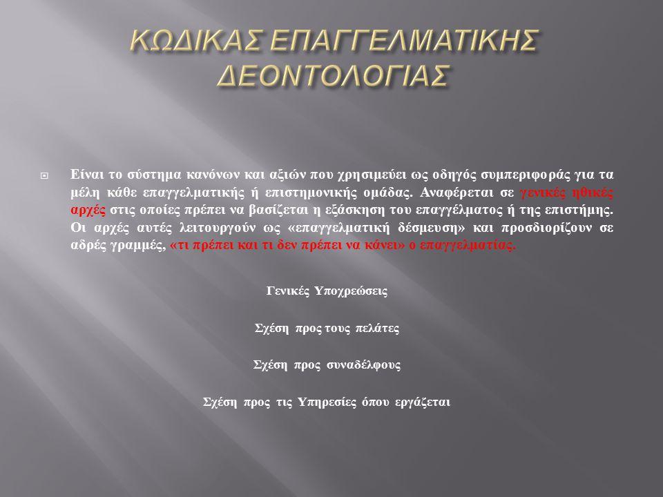ΚΩΔΙΚΑΣ ΕΠΑΓΓΕΛΜΑΤΙΚΗΣ ΔΕΟΝΤΟΛΟΓΙΑΣ