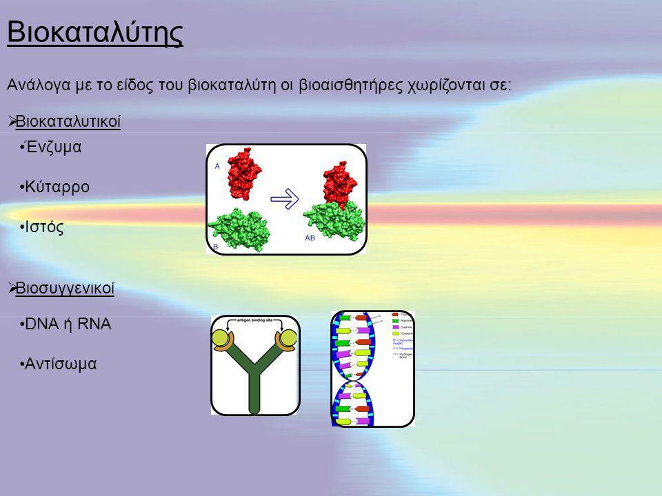 Βιοκαταλύτης Ανάλογα με το είδος του βιοκαταλύτη οι βιοαισθητήρες χωρίζονται σε: Βιοκαταλυτικοί. Ένζυμα.