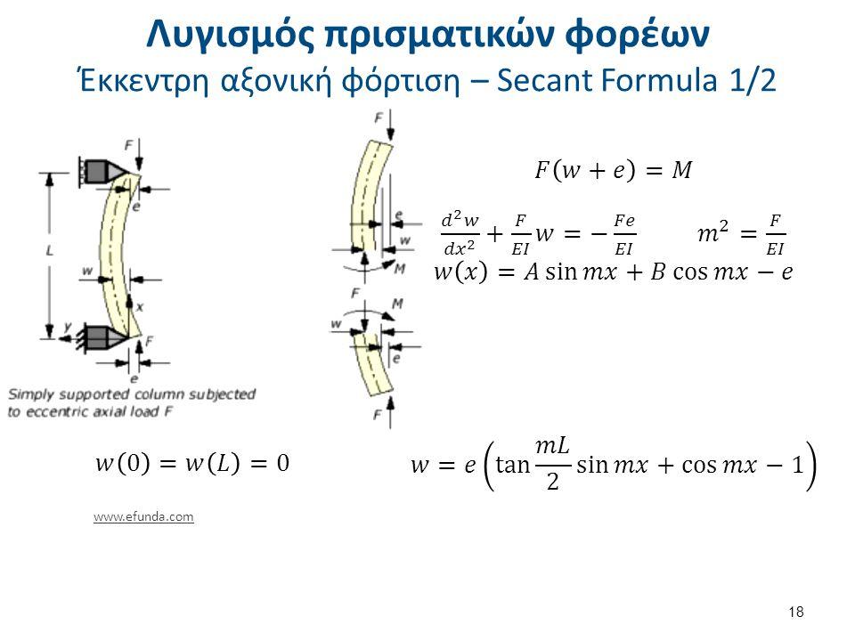 Λυγισμός πρισματικών φορέων Έκκεντρη αξονική φόρτιση – Secant Formula 2/2