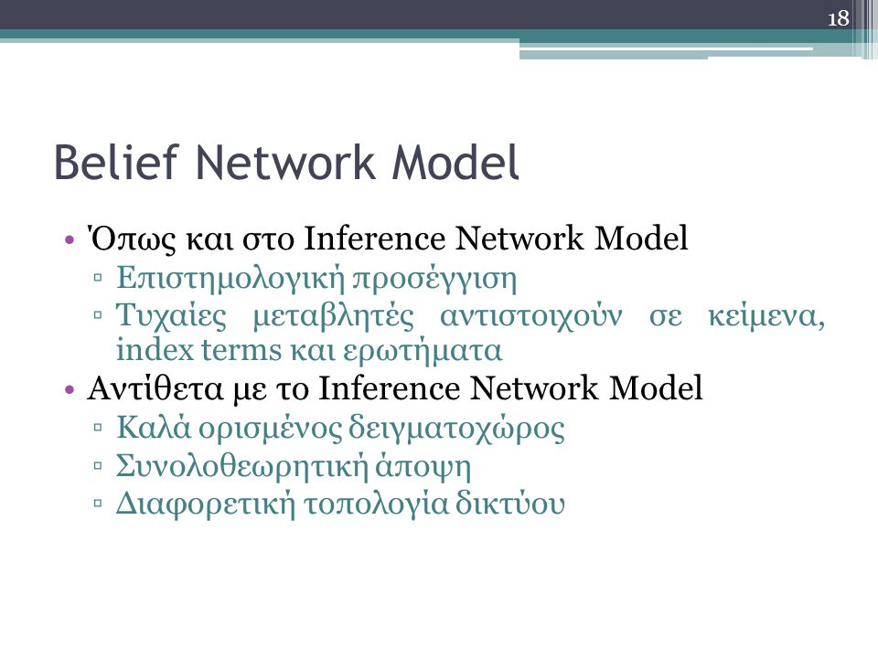 Belief Network Model Όπως και στο Inference Network Model