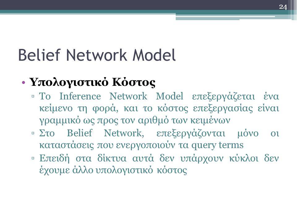 Belief Network Model Υπολογιστικό Κόστος
