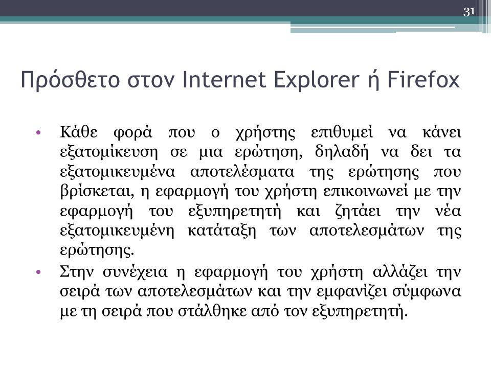 Πρόσθετο στον Internet Explorer ή Firefox