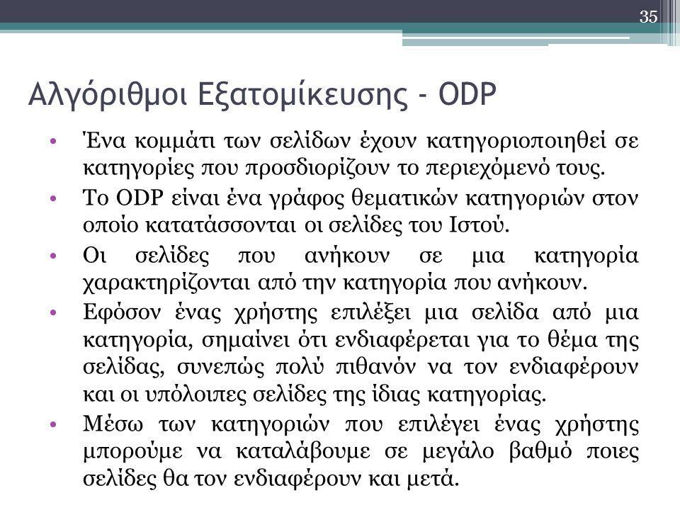Αλγόριθμοι Εξατομίκευσης - ODP