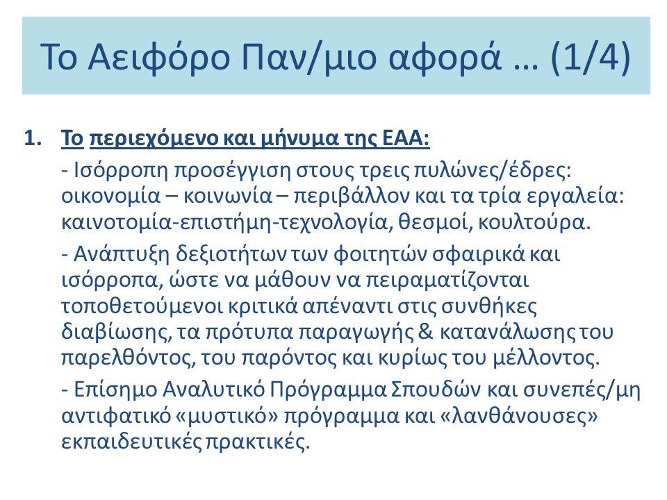 Το Αειφόρο Παν/μιο αφορά … (1/4)