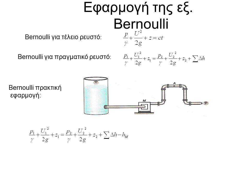 Εφαρμογή της εξ. Bernoulli