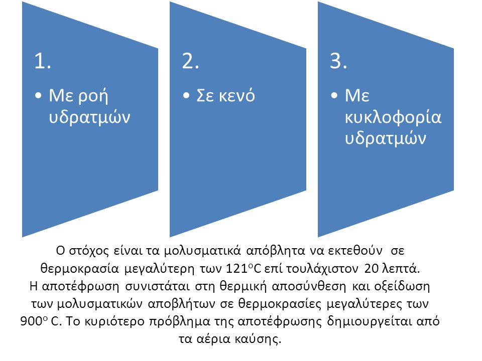 1. Με ροή υδρατμών. 2. Σε κενό. 3. Με κυκλοφορία υδρατμών.