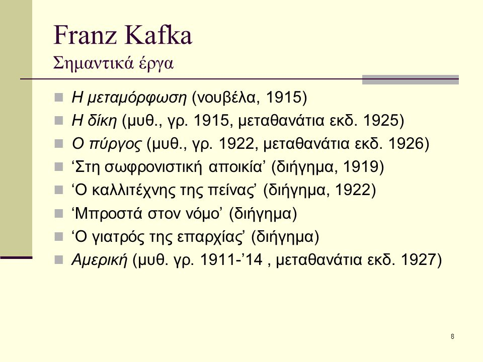 Franz Kafka Σημαντικά έργα