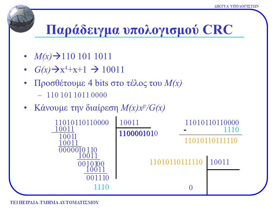 Παράδειγμα υπολογισμού CRC