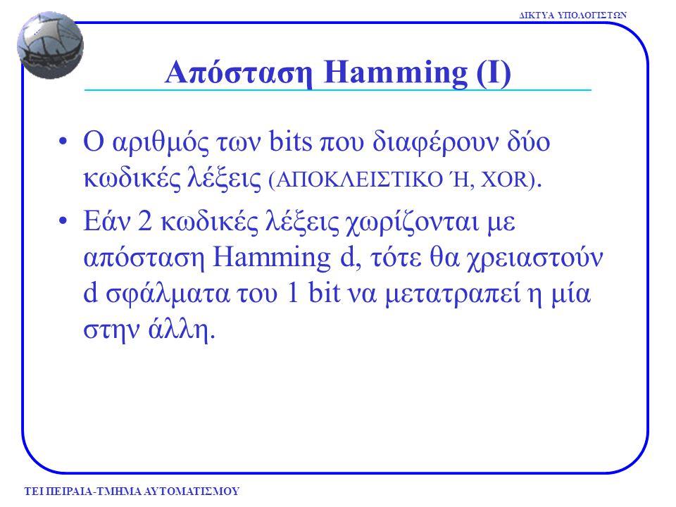 Απόσταση Hamming (Ι) Ο αριθμός των bits που διαφέρουν δύο κωδικές λέξεις (ΑΠΟΚΛΕΙΣΤΙΚΟ Ή, XOR).