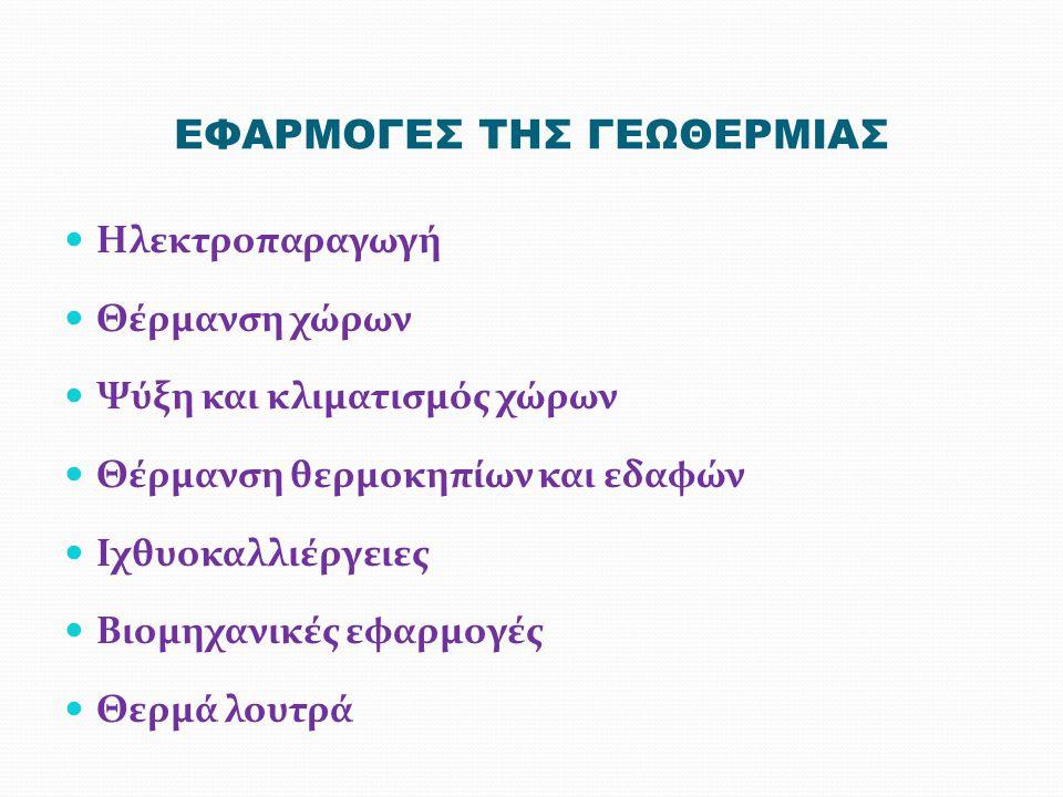 ΕΦΑΡΜΟΓΕΣ ΤΗΣ ΓΕΩΘΕΡΜΙΑΣ