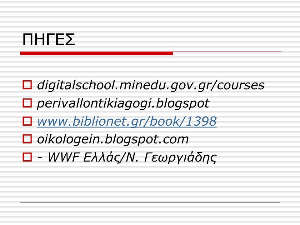 ΠΗΓΕΣ digitalschool.minedu.gov.gr/courses perivallontikiagogi.blogspot