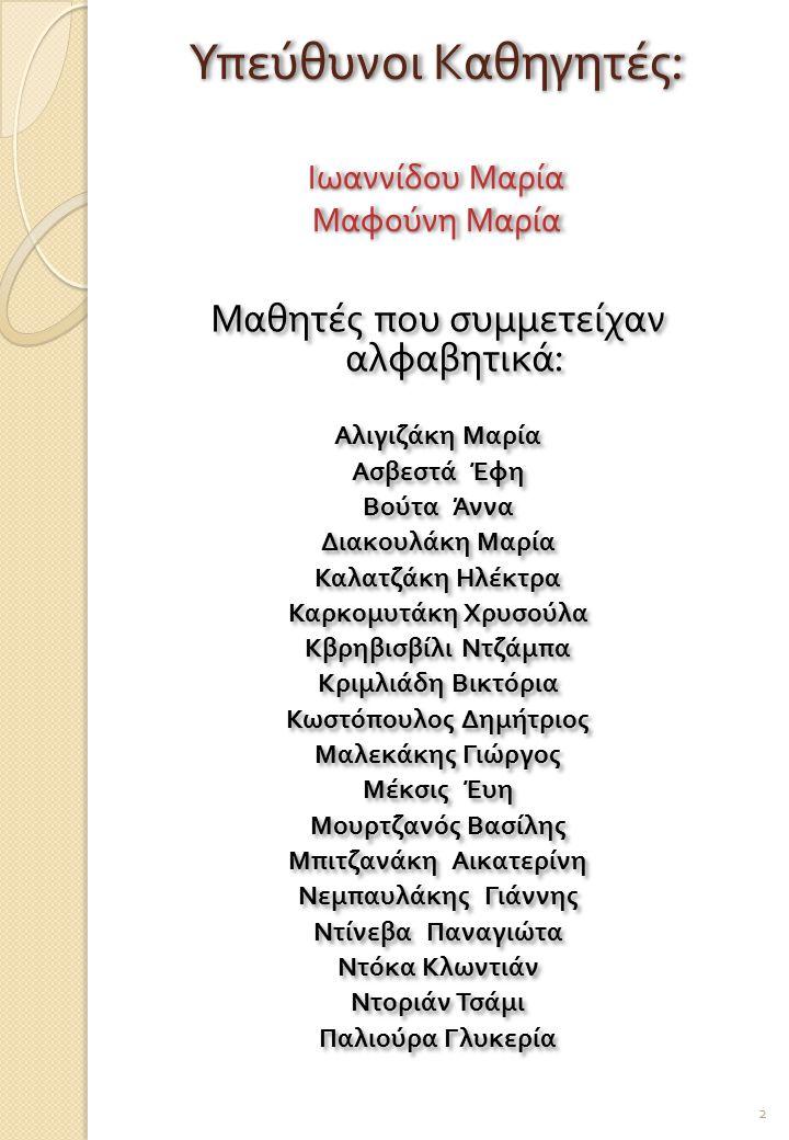 Υπεύθυνοι Καθηγητές: Ιωαννίδου Μαρία Μαφούνη Μαρία