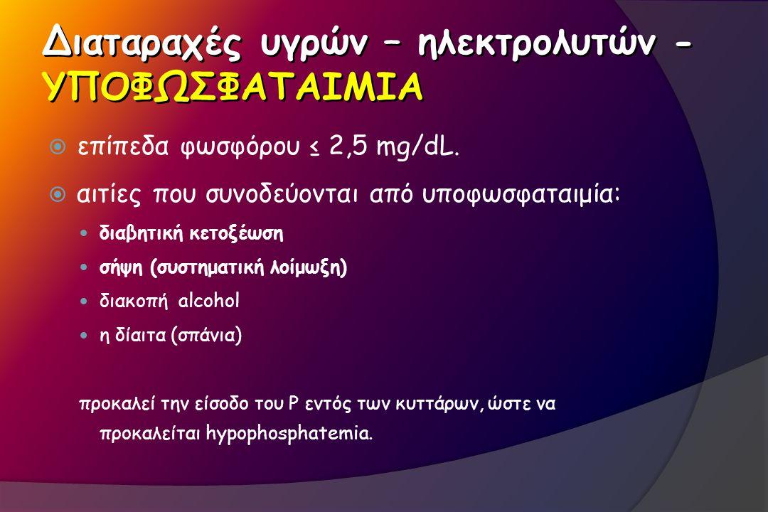 Διαταραχές υγρών – ηλεκτρολυτών - ΥΠΟΦΩΣΦΑΤΑΙΜΙΑ