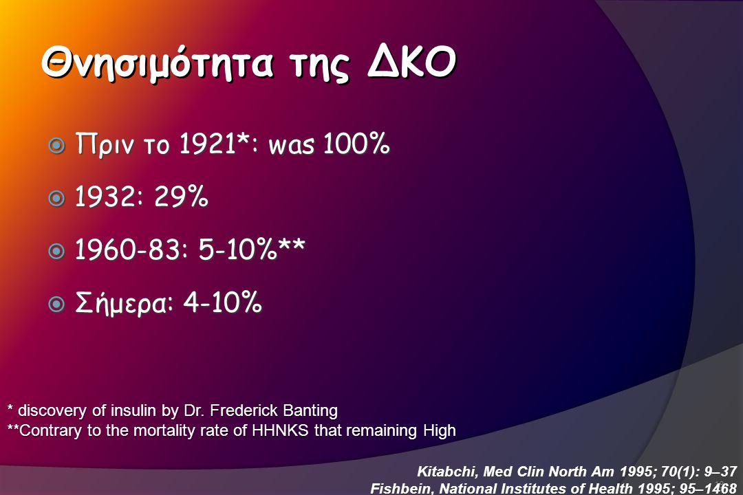 Θνησιμότητα της ΔΚΟ Πριν το 1921*: was 100% 1932: 29% 1960-83: 5-10%**