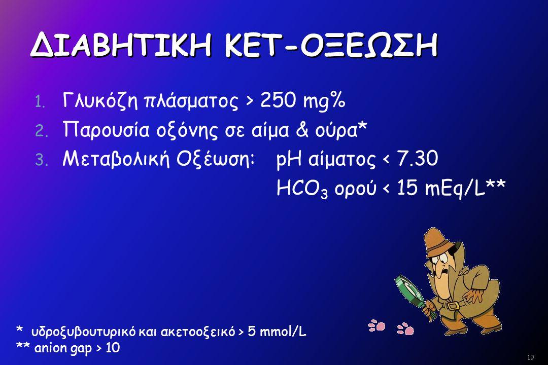 ΔΙΑΒΗΤΙΚΗ ΚΕΤ-ΟΞΕΩΣΗ Γλυκόζη πλάσματος > 250 mg%