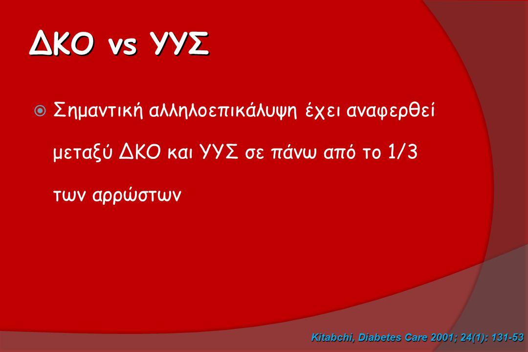 ΔΚΟ vs YYΣ Σημαντική αλληλοεπικάλυψη έχει αναφερθεί μεταξύ ΔΚΟ και ΥΥΣ σε πάνω από το 1/3 των αρρώστων.