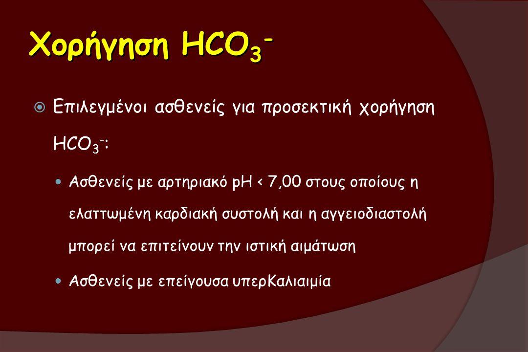 Χορήγηση HCO3- Επιλεγμένοι ασθενείς για προσεκτική χορήγηση ΗCO3-: