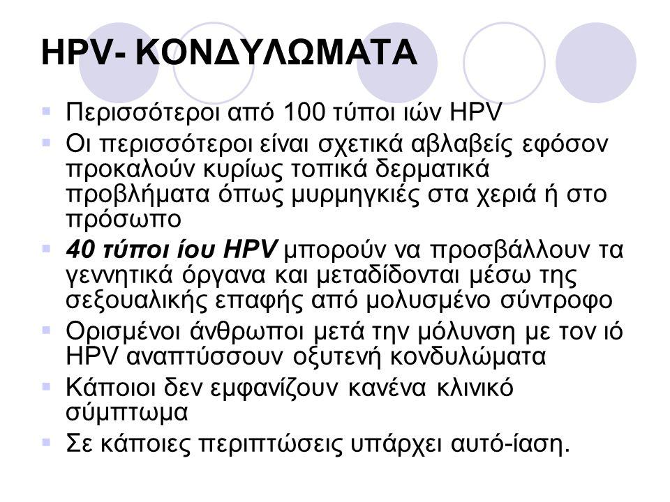HPV- ΚΟΝΔΥΛΩΜΑΤΑ Περισσότεροι από 100 τύποι ιών HPV
