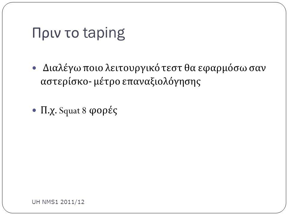 Πριν το taping Διαλέγω ποιο λειτουργικό τεστ θα εφαρμόσω σαν αστερίσκο- μέτρο επαναξιολόγησης. Π.χ. Squat 8 φορές.