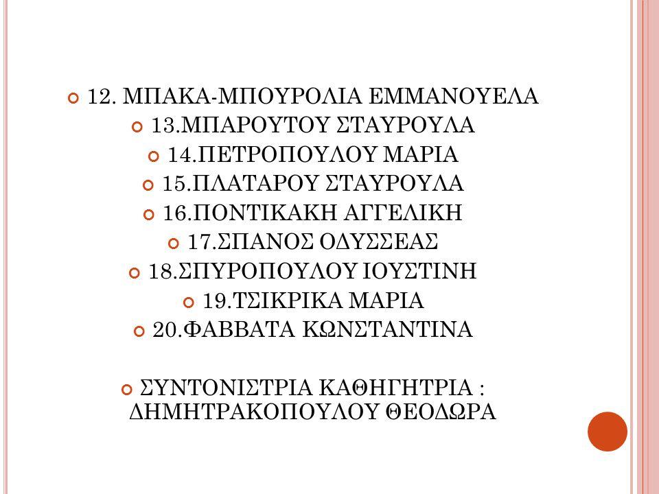 12. ΜΠΑΚΑ-ΜΠΟΥΡΟΛΙΑ ΕΜΜΑΝΟΥΕΛΑ 13.ΜΠΑΡΟΥΤΟΥ ΣΤΑΥΡΟΥΛΑ
