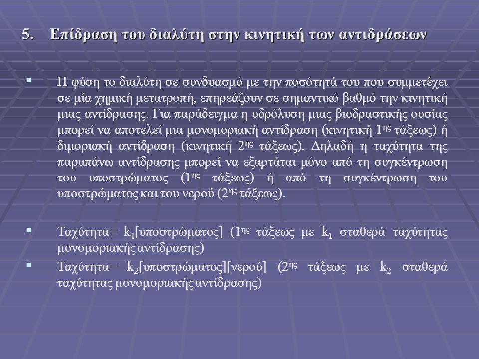 5. Επίδραση του διαλύτη στην κινητική των αντιδράσεων