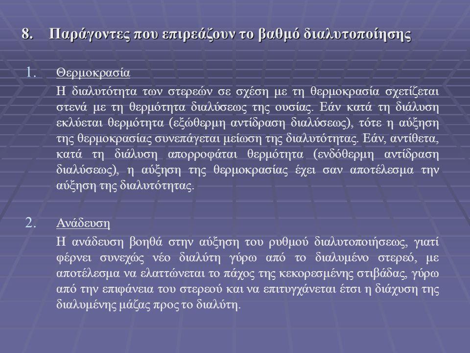 8. Παράγοντες που επιρεάζουν το βαθμό διαλυτοποίησης
