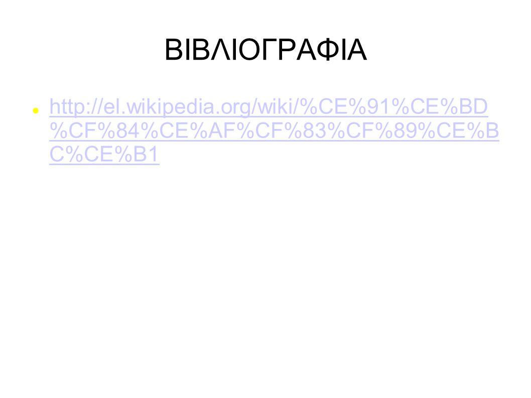 ΒΙΒΛΙΟΓΡΑΦΙΑ http://el.wikipedia.org/wiki/%CE%91%CE%BD %CF%84%CE%AF%CF%83%CF%89%CE%B C%CE%B1