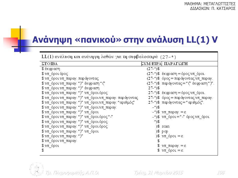 Ανάνηψη «πανικού» στην ανάλυση LL(1) V