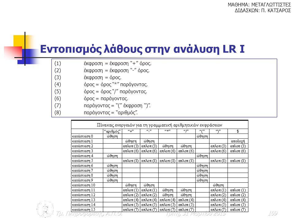 Εντοπισμός λάθους στην ανάλυση LR I
