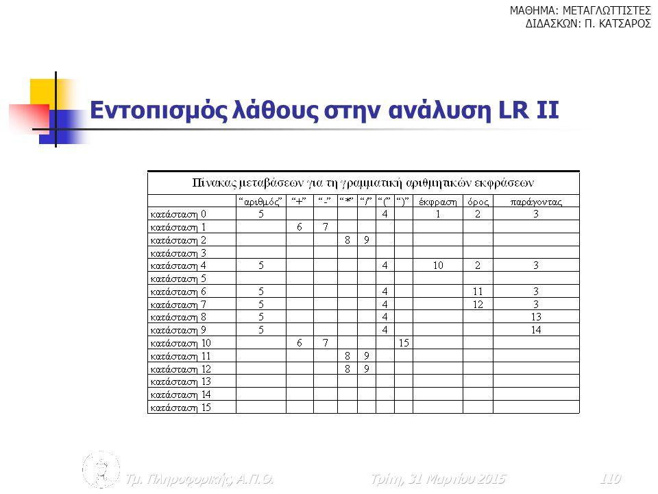 Εντοπισμός λάθους στην ανάλυση LR II