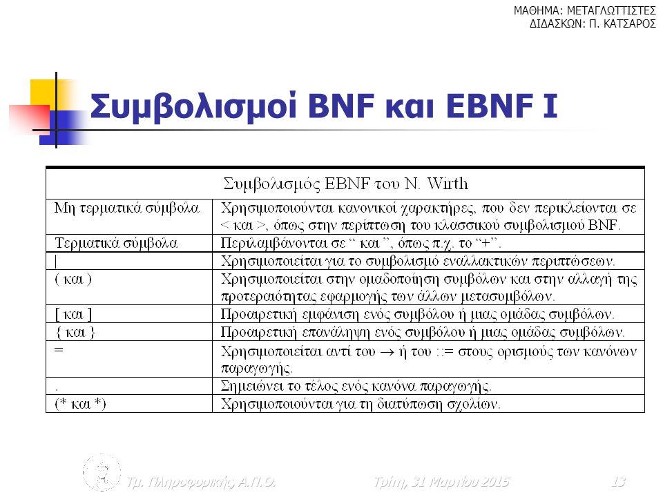 Συμβολισμοί BNF και EBNF I