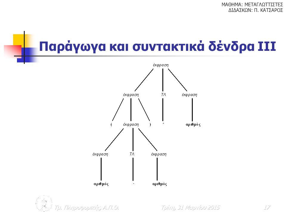 Παράγωγα και συντακτικά δένδρα IIΙ