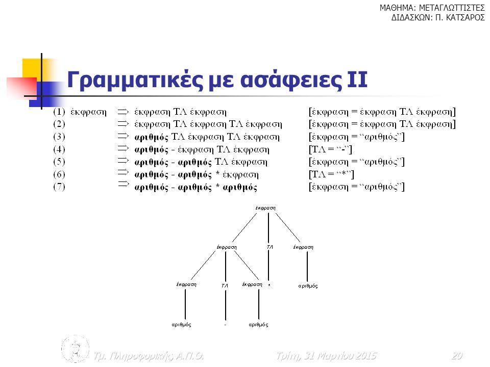 Γραμματικές με ασάφειες ΙΙ