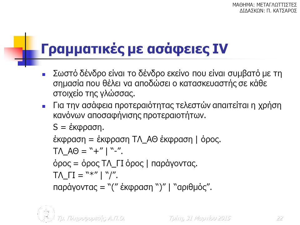 Γραμματικές με ασάφειες ΙV