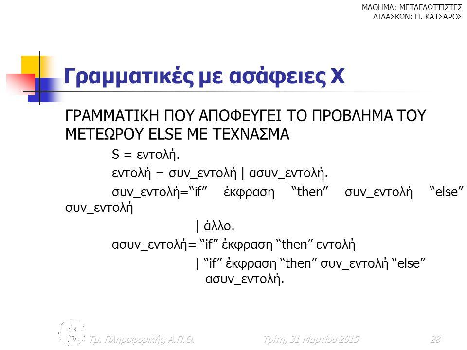 Γραμματικές με ασάφειες Χ