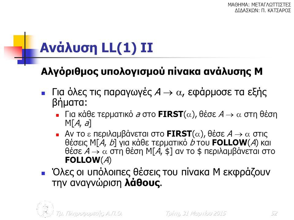 Ανάλυση LL(1) II Αλγόριθμος υπολογισμού πίνακα ανάλυσης Μ