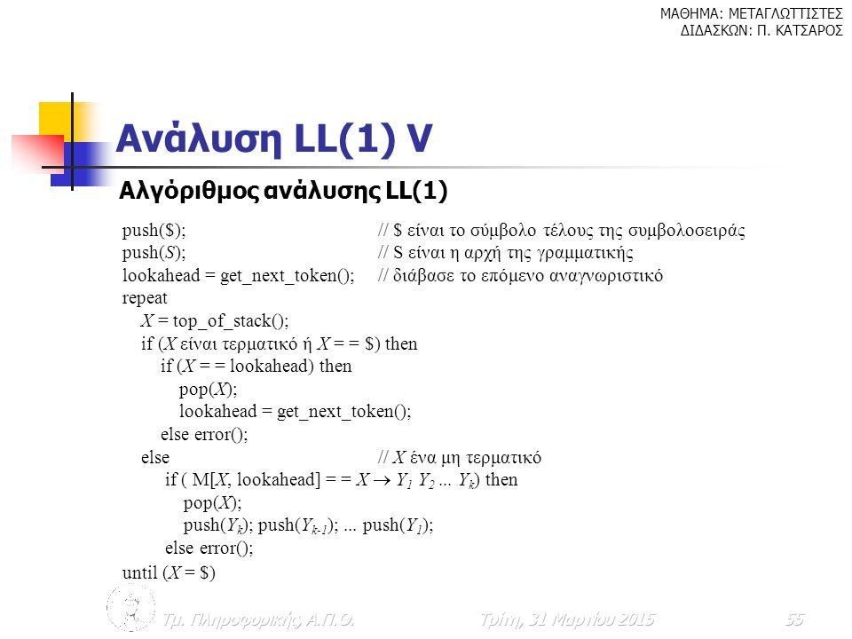 Ανάλυση LL(1) V Αλγόριθμος ανάλυσης LL(1)