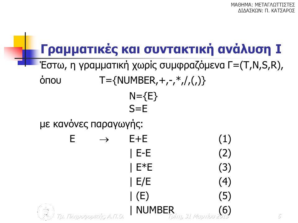 Γραμματικές και συντακτική ανάλυση Ι
