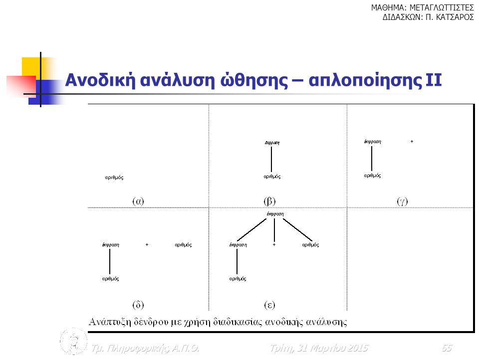 Ανοδική ανάλυση ώθησης – απλοποίησης ΙΙ