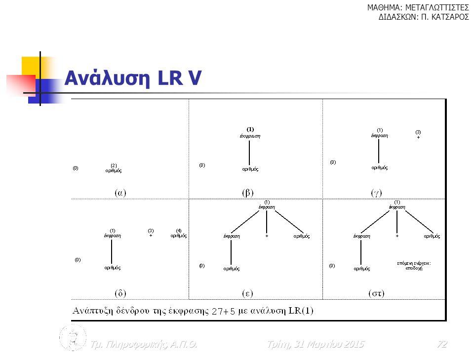 Ανάλυση LR V Τμ. Πληροφορικής, Α.Π.Θ. Κυριακή, 9 Απριλίου 2017