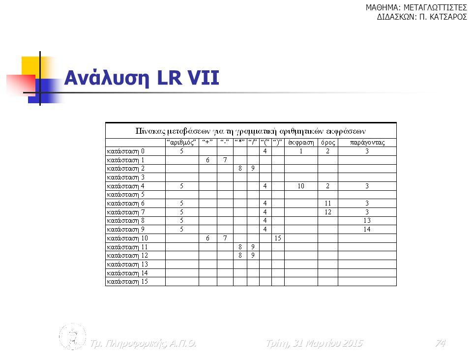 Ανάλυση LR VIΙ Τμ. Πληροφορικής, Α.Π.Θ. Κυριακή, 9 Απριλίου 2017