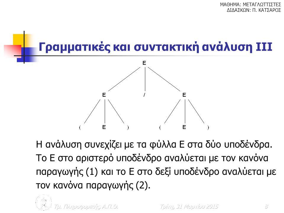 Γραμματικές και συντακτική ανάλυση ΙΙΙ