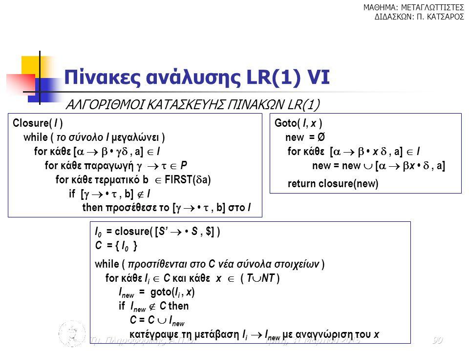 Πίνακες ανάλυσης LR(1) VΙ
