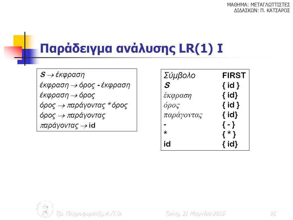Παράδειγμα ανάλυσης LR(1) Ι