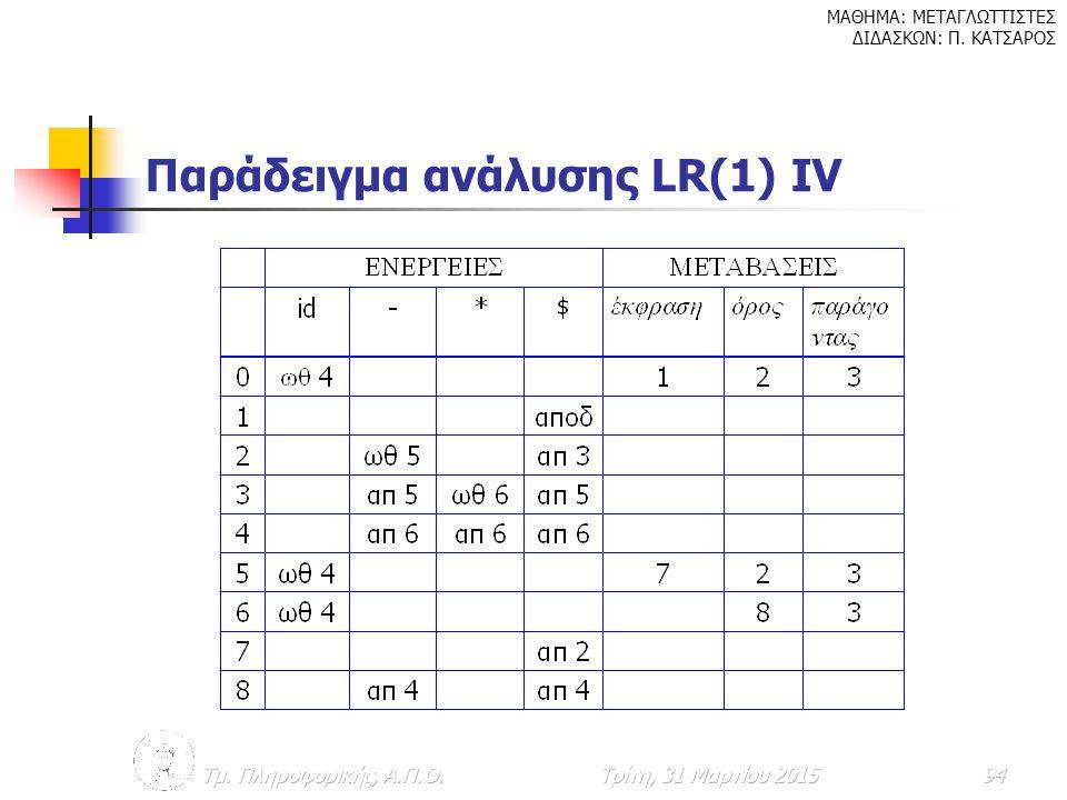 Παράδειγμα ανάλυσης LR(1) ΙV