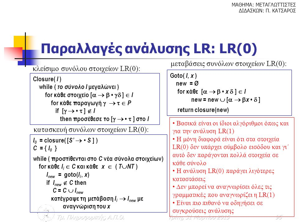 Παραλλαγές ανάλυσης LR: LR(0)
