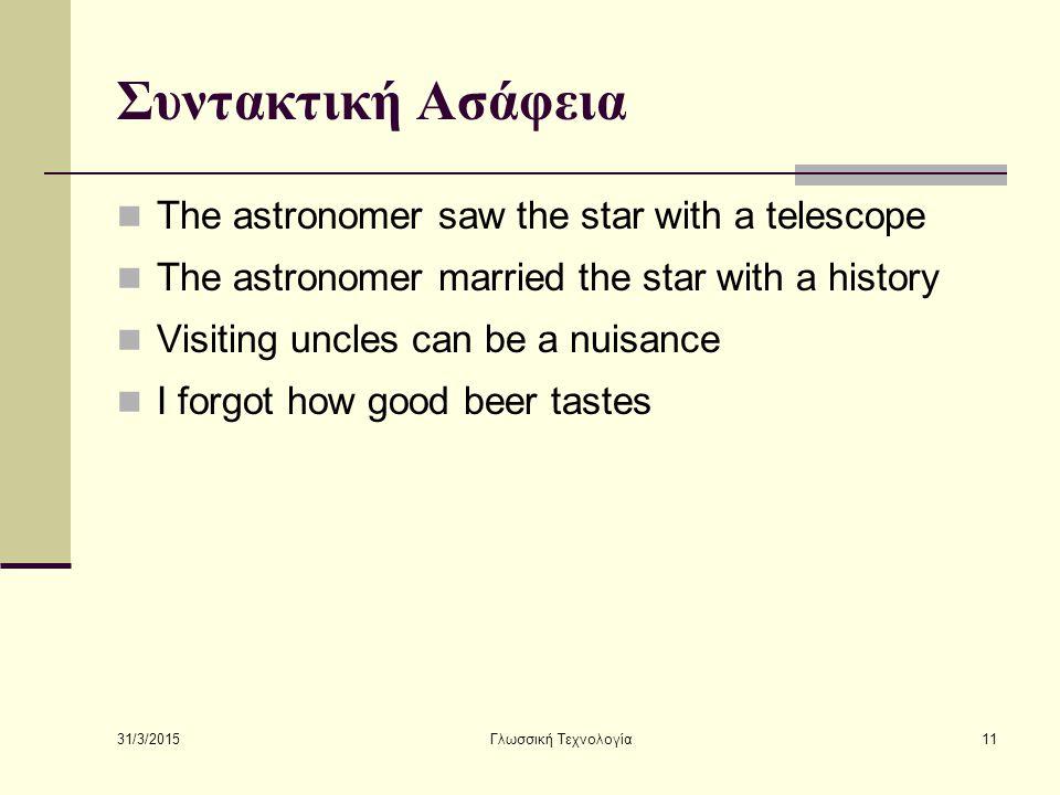 Συντακτική Ασάφεια The astronomer saw the star with a telescope
